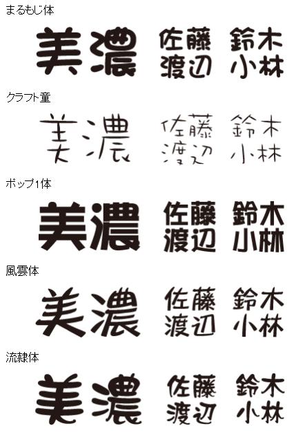 美濃クラフト 漢字書体 まるもじ  クラフト童 ポップ体 風雲 流隷体 クラフト墨