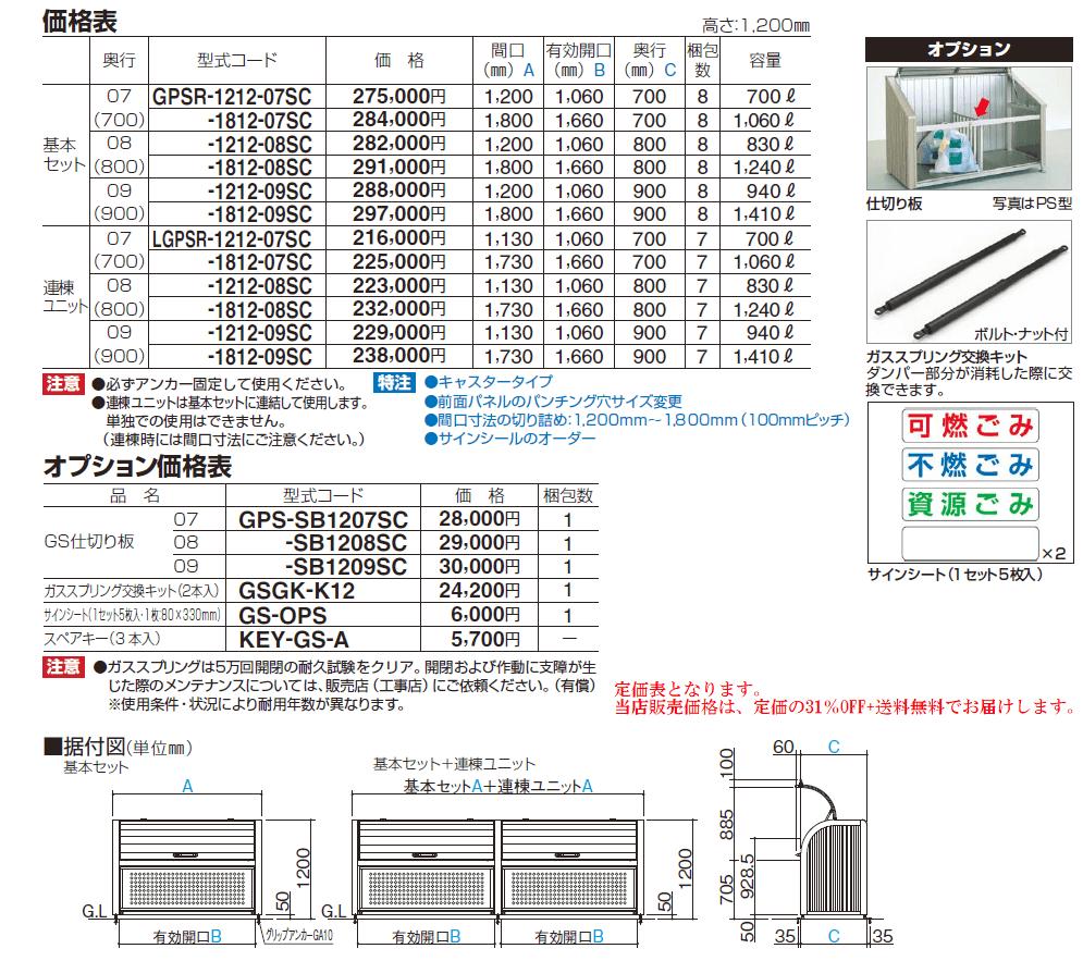 四国化成 ゴミストッカーPSR型 サイズ・定価表画像