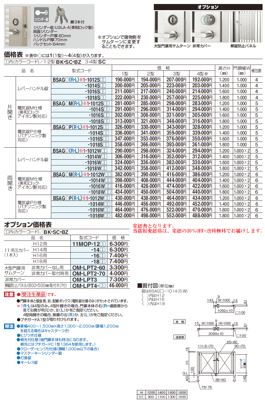 四国化成 袖門扉 BSAG1型 BSAG2型 BSAG3型 BSAG4型 定価表画像