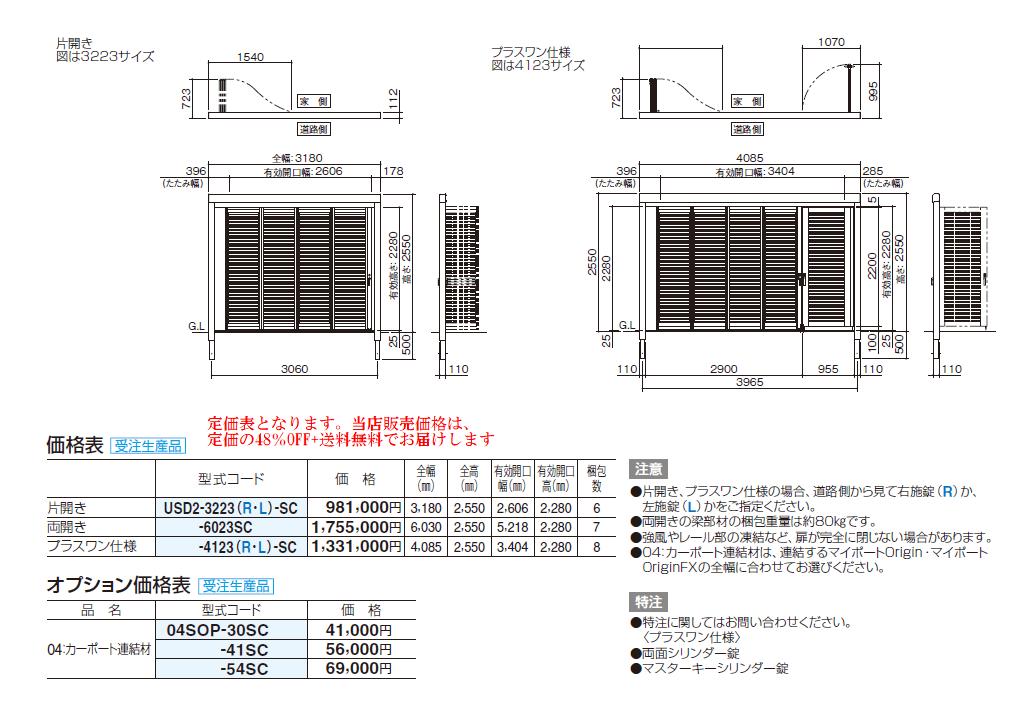 四国化成 ユニットスライダー2型 サイズ・定価表画像