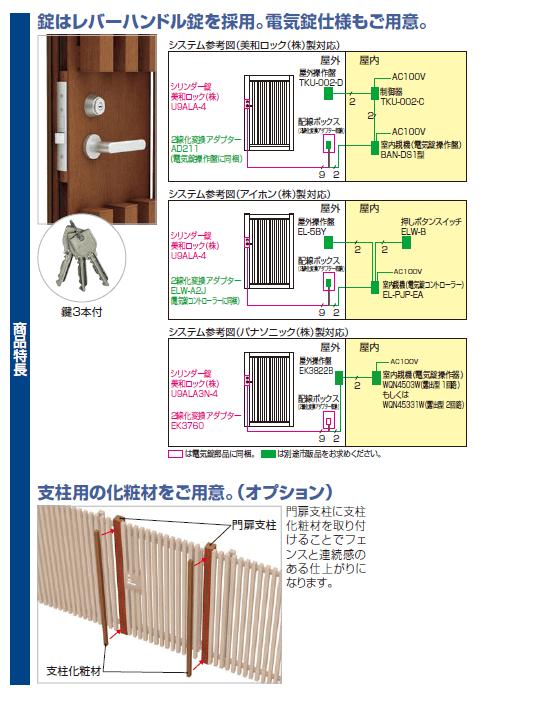 四国化成 アレグリアTL袖門扉 1〜5型 商品特長画像