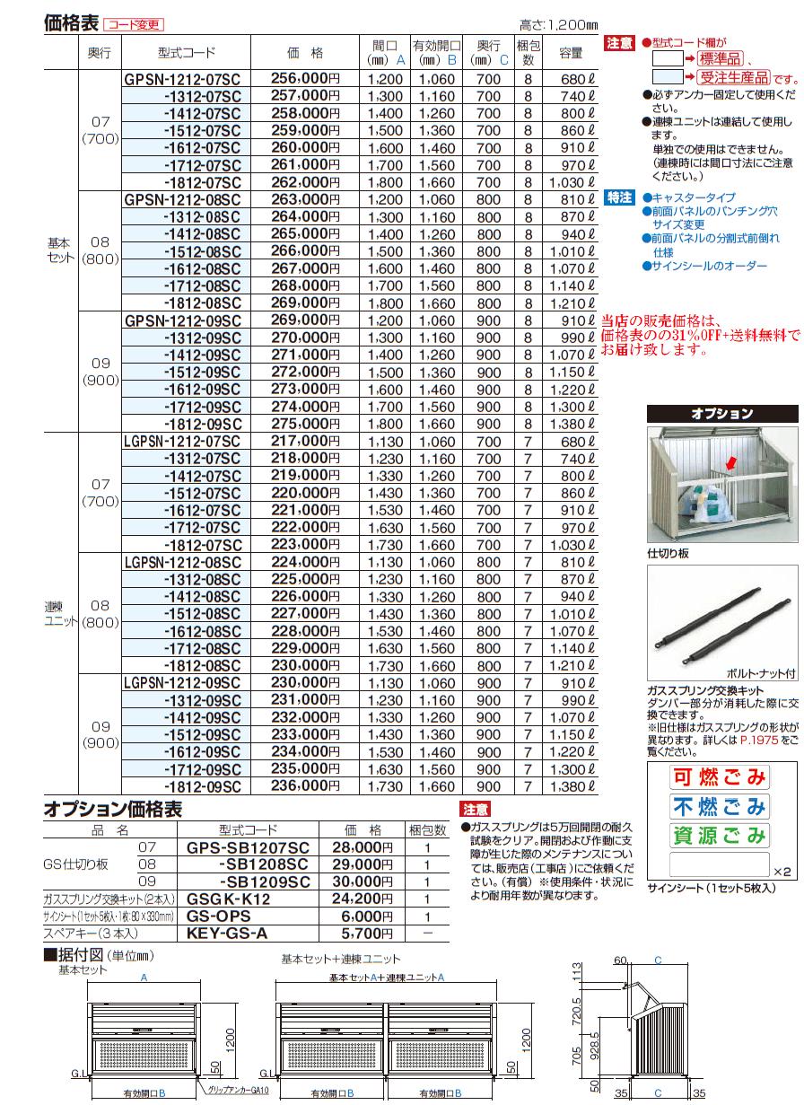 ゴミストッカーPS型 価格表画像