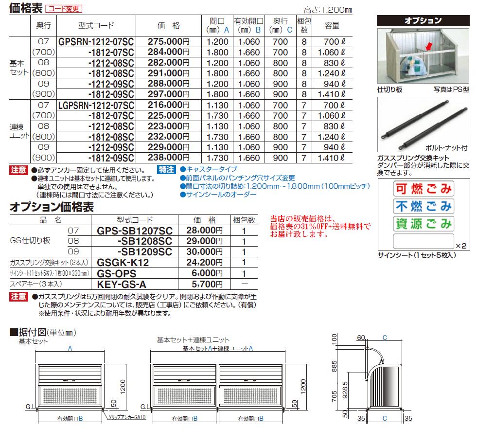 ゴミストッカーPSR型 価格表画像