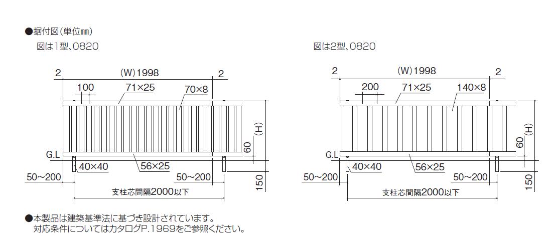 アレグリアフェンス1型 アレグリアフェンス2型 図面