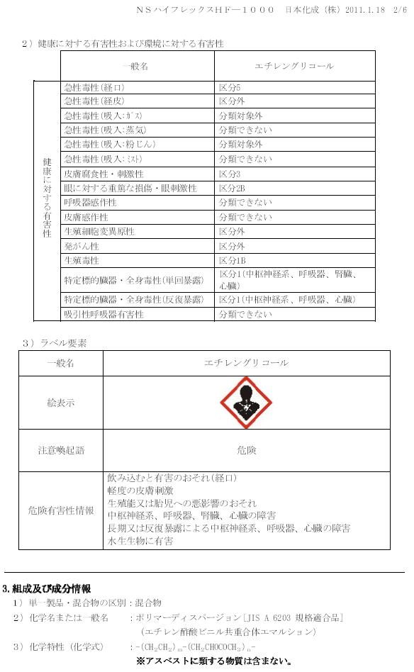 日本化成 NSハイフレックス MSDS(安全データシート)画像 2